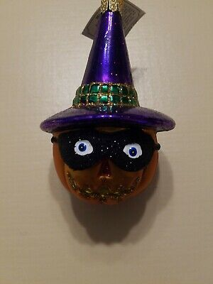 Vintage Old World Christmas Masked Pumpkin in Witch Hat Halloween Ornament