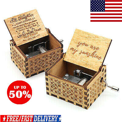 Retro Wooden Music Box Antique Hand Crank Engraved Toys Kids Birthday Gift Xmas@