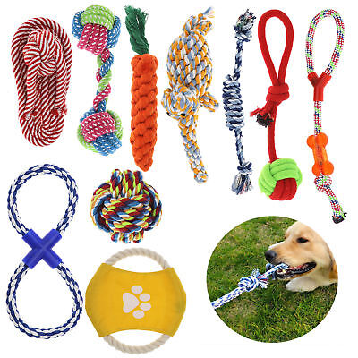 10pcs Assorted Pet Dog Toys Squeaky Chew Rope Ball Rubber Novelty Toys Bulk Deal