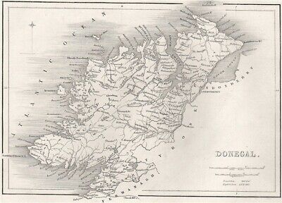 Antique DONEGAL county map by Alfred ADLARD. Ireland 1835 old