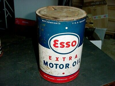 1940s Vintage ESSO EXTRA MOTOR OIL Old 5 qt Tin Oil Can