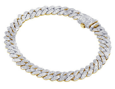 "Mens Yellow Gold Real Diamond Miami Cuban Link Bracelet 8 MM 8"" 4.5 CT"