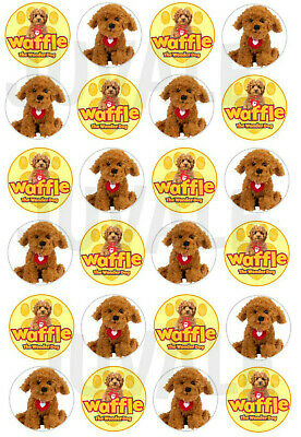 24x WAFFLE THE WONDER DOG ROUND EDIBLE ICING HAPPY BIRTHDAY CUPCAKES TOPPERS