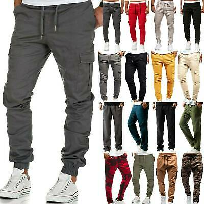 Mens Sports Cargo Slim Gym Skinny Joggers Loose Sweat Pants Trouser Tracksuit