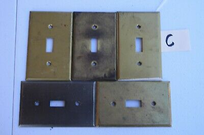 C 5 Stamped Antique Brass Toggle Wall Light Switch Plate Cover