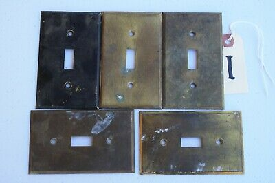 I 5 Vintage Stamped Antique Brass Toggle Wall Light Switch Plate Cover 040 thick