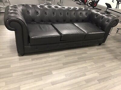 CHESTERFIELD 3-SEATER BLACK Leather Sofa Home Office ...