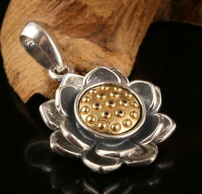 Precious Chinese 925 Silver Pendant Statue Lotus Mascot Lady Decorated Gift