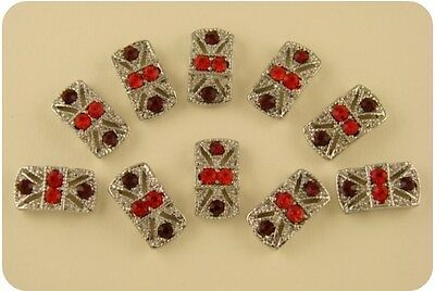 2 Hole Beads Marcasite Tablets Aurora Borealis Swarovski Crystal Elements QTY 10