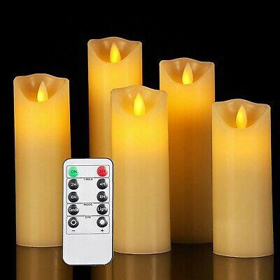 Set Of 5 Flameless Pillar Ivory Candles Moving Wick LED Timer Remote Safe To Use
