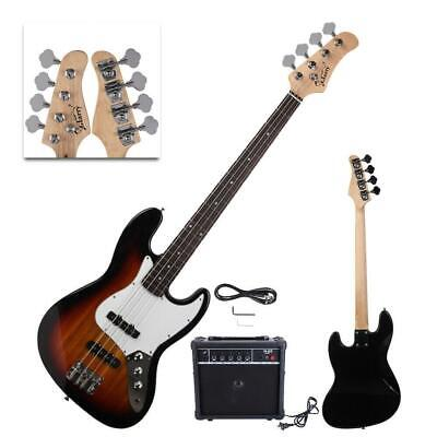 New Sunset Glarry Electric Jazz 4 Strings 22 Frets Electric Bass Guitar with AMP
