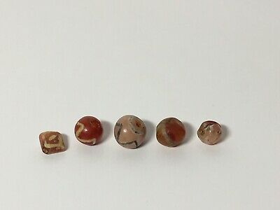 Ancient Indus Valley Etched Carnelian Agate Stone Beads Pyu Dzi Lot Of 5 Beads