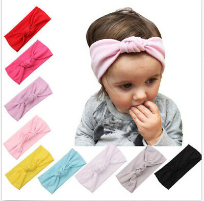 Baby Toddler Kids Girls Bow Hairband Turban Knot Cotton Cute Headbands^HeadwETP