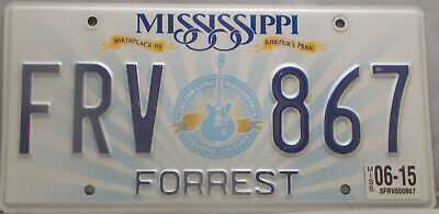 Mississippi License Plate Guitar Birthplace Americas Music Forrest    FRV 867