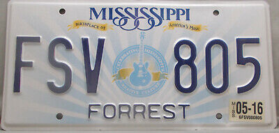 Mississippi License Plate Guitar Birthplace Americas Music Forrest    FSV 805