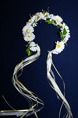 HEAD WREATH Hair BAND WHITE DAISY SUN FLOWER German Oktoberfest DIRNDL Dress NEW