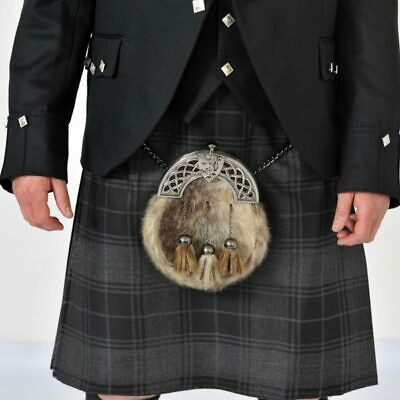 "Grey Highlander 8 Yard Wool Kilt Ex Hire A1 condition limited stock 24"" Drop"