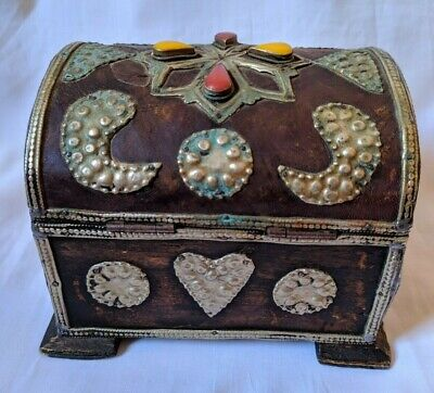 Ancient Antique Berber Wood Box Jewelry Storage Handmade Very Old Stuning Stones