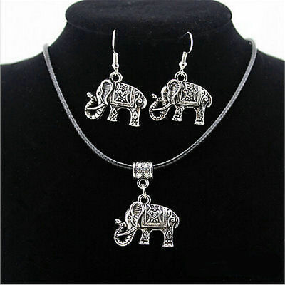 Tibet Silver Chinese Style Elephant Pendant Necklace Earrings Hook Jewelry Set F