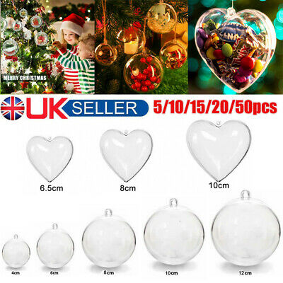 50X Clear Christmas Balls Hearts Baubles Sphere Fillable Xmas Tree Ornament DIY