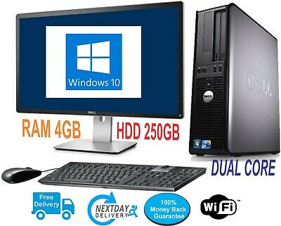 Dell/Hp Dual Core Desktop Sff Pc Computer Bundle Windows 10,4Gb,250Gb,Wifi
