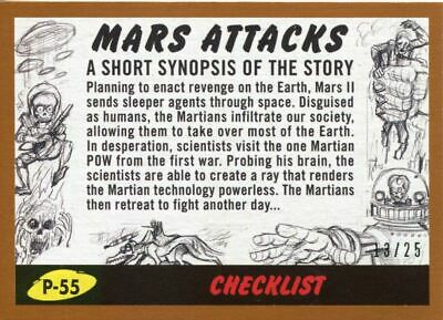 Mars Attacks The Revenge Bronze [25] Pencil Art Base Card P-55 Checklist