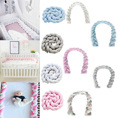 Pink/Grey/White/Blue/Multi Baby Cot Bumpers Bedding Protection Pad Bumper Knot