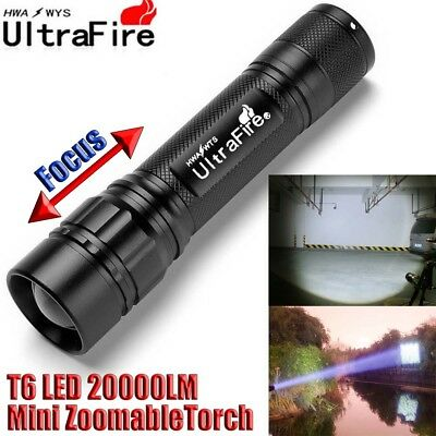 Ultrafire 18650 Zoomable Flashlight Tactical 20000LM 3-Mode T6 LED Torch Lamp #