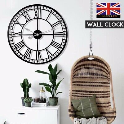 80CM Large Roman Numerals Giant Open Face Metal Wall Clock Outdoor Garden