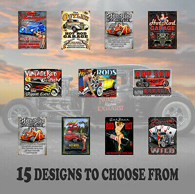 HOT ROD GARAGE RETRO STYLE FUNNY METAL PLAQUES - Choice of 17 Designs - Man Cave