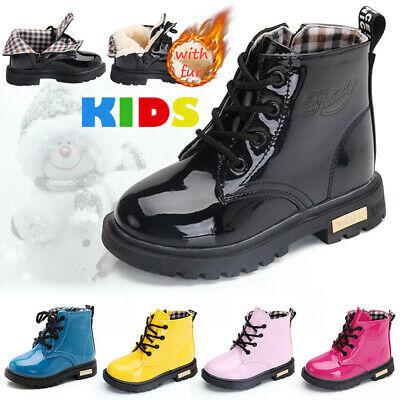 UK Kids Ankle Boots Boys Girls Martin Shoes Winter Warm Lace Up Fur Lined Bovver