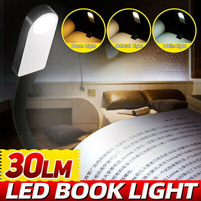 Mini LED Book Clip On Reading Light Dimming Bed Night Lamp Portable Travel USB