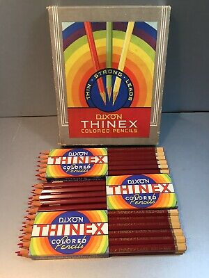 35 Vintage Dixon THINEX Colored PENCILS Lake Red in BOX