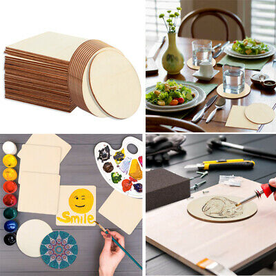 36 10cm Unfinished Wood Pieces for DIY Crafts Painting Staining Burning Coasters