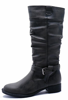 Ladies Charcoal Black Knee-High Tall Riding Calf Zip-Up Flat Boots Shoes Uk 3-8