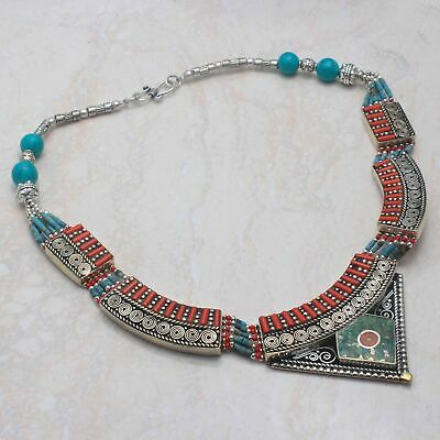 Nice Tibetan Turquoise,Coral Handmade Big Necklace 133 Gms LBN-2815