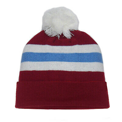 fan originals Retro Football Bobble Hat in Aston Villa Colours Claret Blue