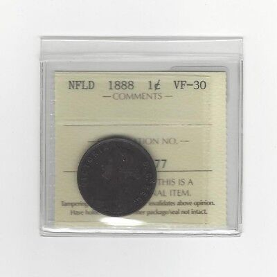 1888, ICCS Graded Newfoundland, Large One Cent, **VF-30**