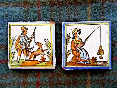"Vintage Antique Hand Painted Spanish Tile Fishing Hunting  Set of 2 Approx 4"" Sq"