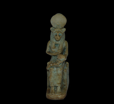 ANCIENT EGYPT ANTIQUE Egyptian blue faience Sekhmet nursing Horus
