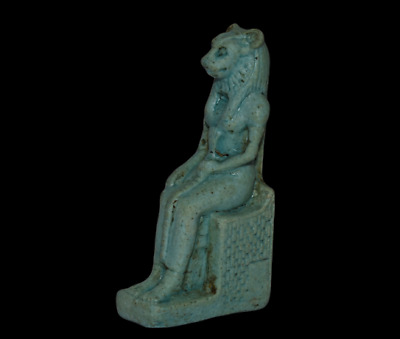 ANCIENT EGYPT ANTIQUE Egyptian blue faience amulet Sekhmet