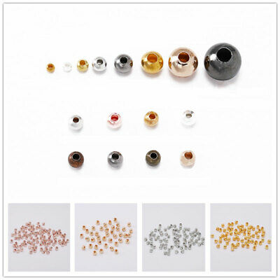 Metal Round Spacer Beads Smooth Ball End Seed Bead For DIY Jewelry Making