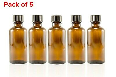 30ml (1 oz) Amber Glass Essential Oil Aromatherapy Bottle Container Pack of 5