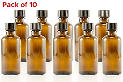 30ml (1 oz) Amber Glass Essential Oil Aromatherapy Bottle Container Pack of 10