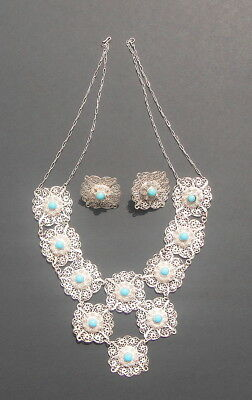 Antique 19th Century Chinese Sterling Silver and Turquoise Necklace and Earrings