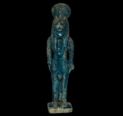 ANCIENT EGYPT ANTIQUE Egyptian blue glazed faience Sekhmet  a