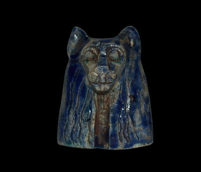 ANCIENT EGYPT ANTIQUE Egyptian blue glazed faience head of Sekhmet