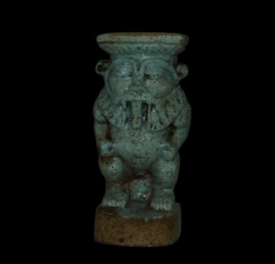 ANCIENT EGYPT ANTIQUE EGYPTIAN blue faience BES  Statue