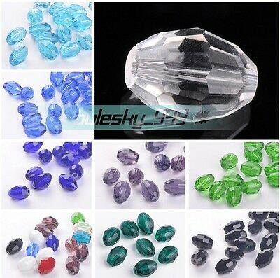 24pcs 13x10mm Rugby Oval Faceted Crystal Glass DIY Findings Loose Spacer Beads