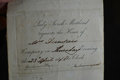 1823 Invitation from Lady Sarah Maitland Government House Canada